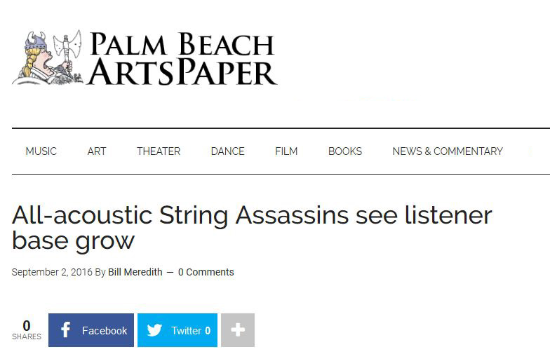Palm Beach ArtsPaper – All-acoustic String Assassins